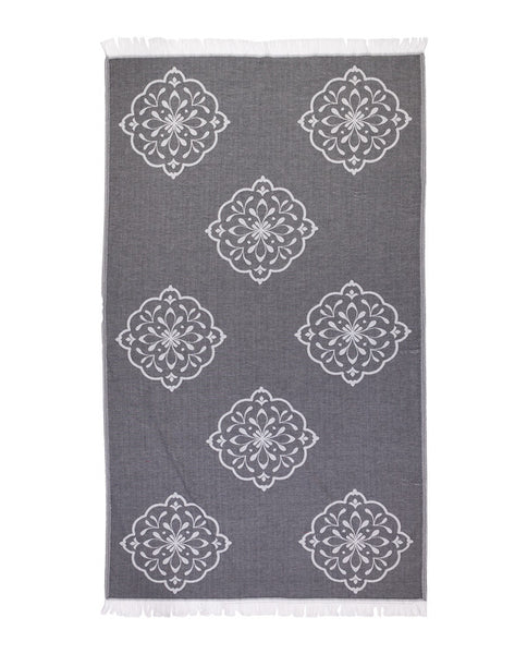 Peshtemal towel with large floral print, black & white, made in Turkey