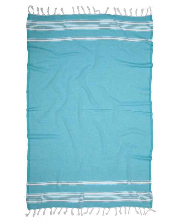 Recycled cotton peshtemal towel, made in Turkey - Shopping Blue