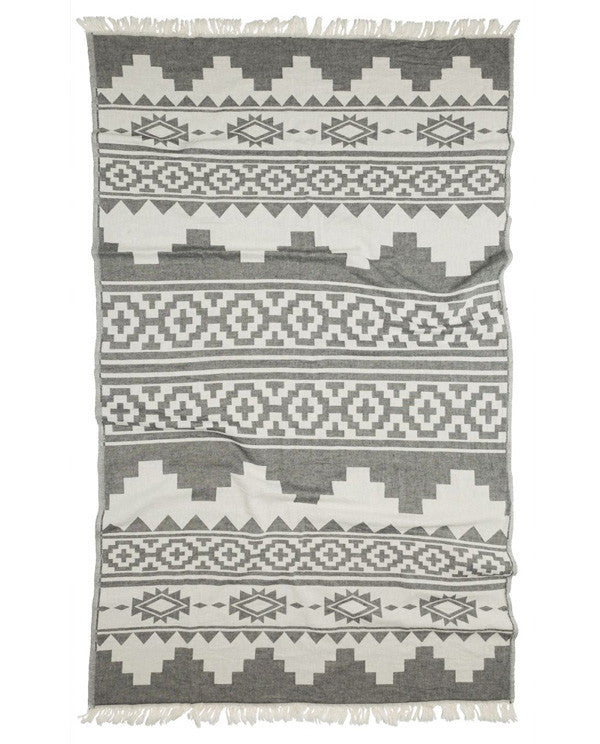 Peshtemal towel with Aztec pattern, cotton, made in Turkey - Shopping Blue