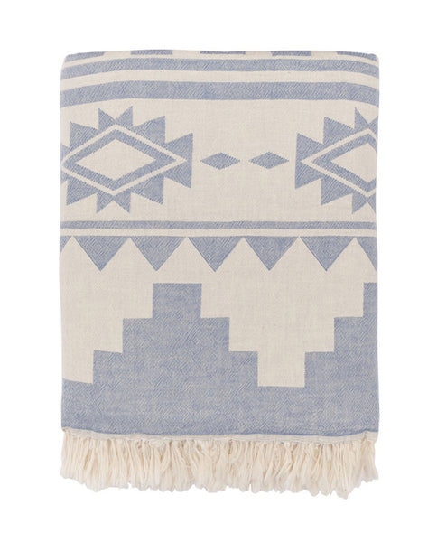 Throw with Aztec pattern, cotton, made in Turkey - Shopping Blue