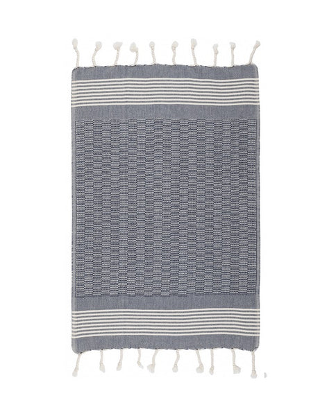 Cotton kitchen towel with fringes, navy, made in Turkey