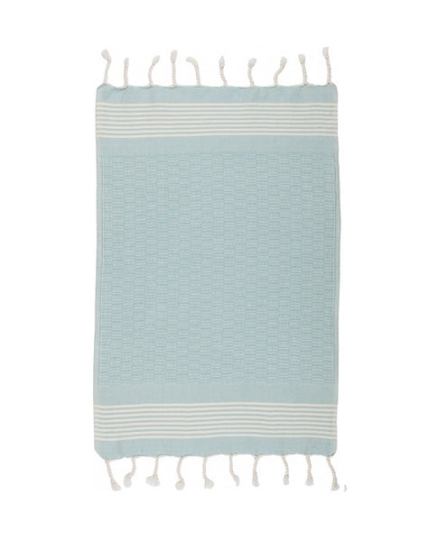 Cotton kitchen towel with fringes, light blue, made in Turkey