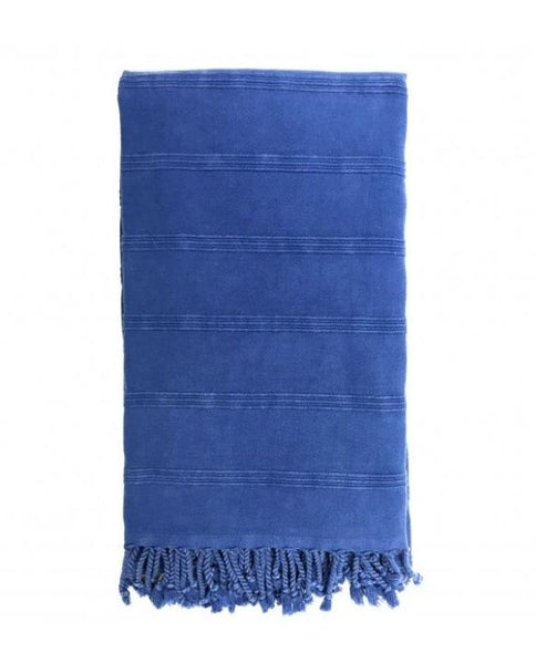Stonewashed throw blanket, cotton, made in Turkey - Shopping Blue