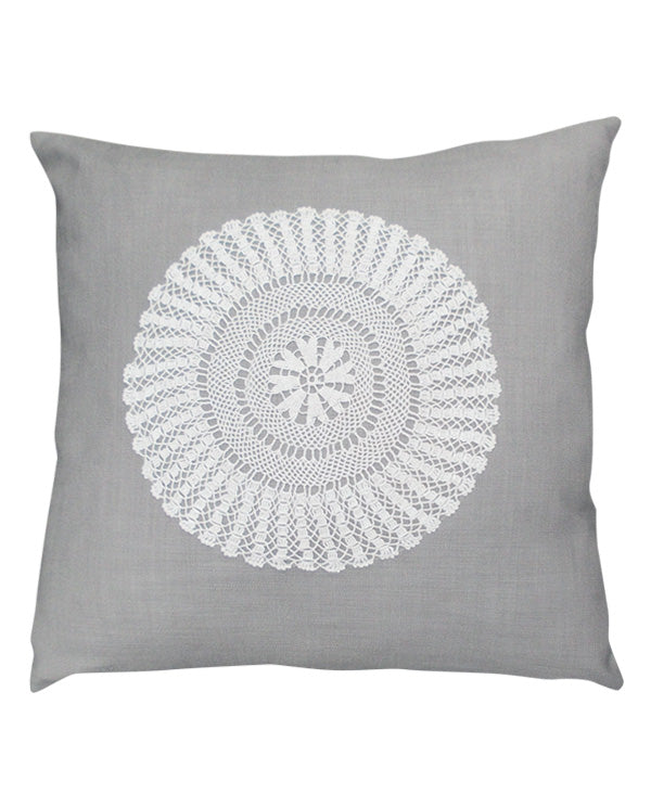 Linen cushion cover with crochet doily