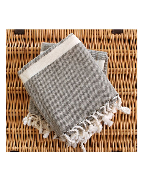 Hand and bath artisan towel set, neutral beige, made in Turkey