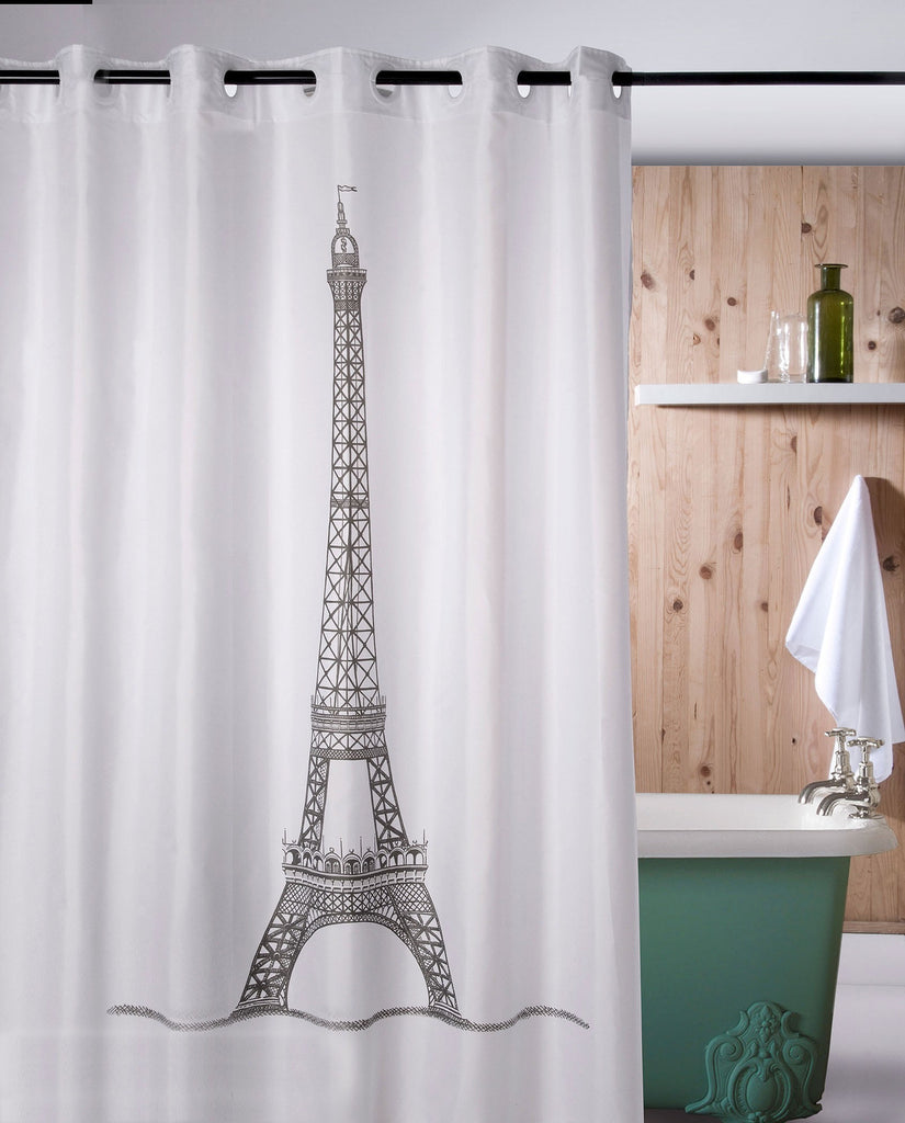 Hookless shower curtain with Eiffel tower, made in Spain