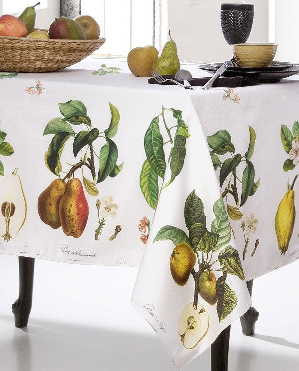 Stain repellent tablecloth with fruit print, made in Spain - Shopping Blue