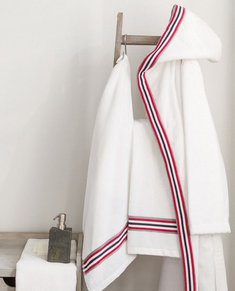 Multi stripe hooded cotton terry bathrobe made in Portugal