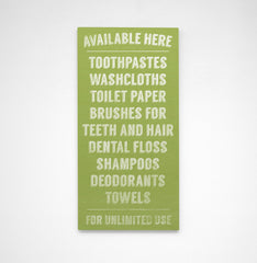 John W. Golden's Available Here Series Bathroom Sign in Green