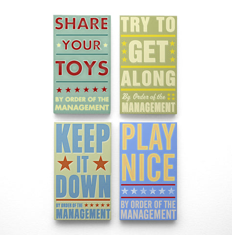 "By Order of the Management Art Blocks- Playroom Rules Set of 4- 4"" x 7"""