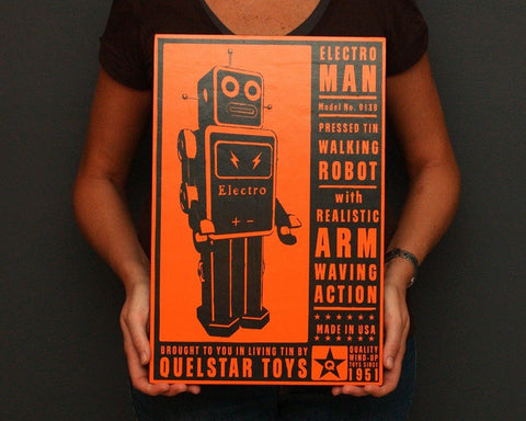 "12"" x 18"" Quelstar Robot Art Block"