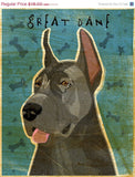 "Great Dane Number 5- Blue- Dog Art Print 8"" x 10"""
