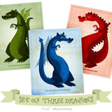 "Set of 3 Dragon Illustrations- 8""x10"""