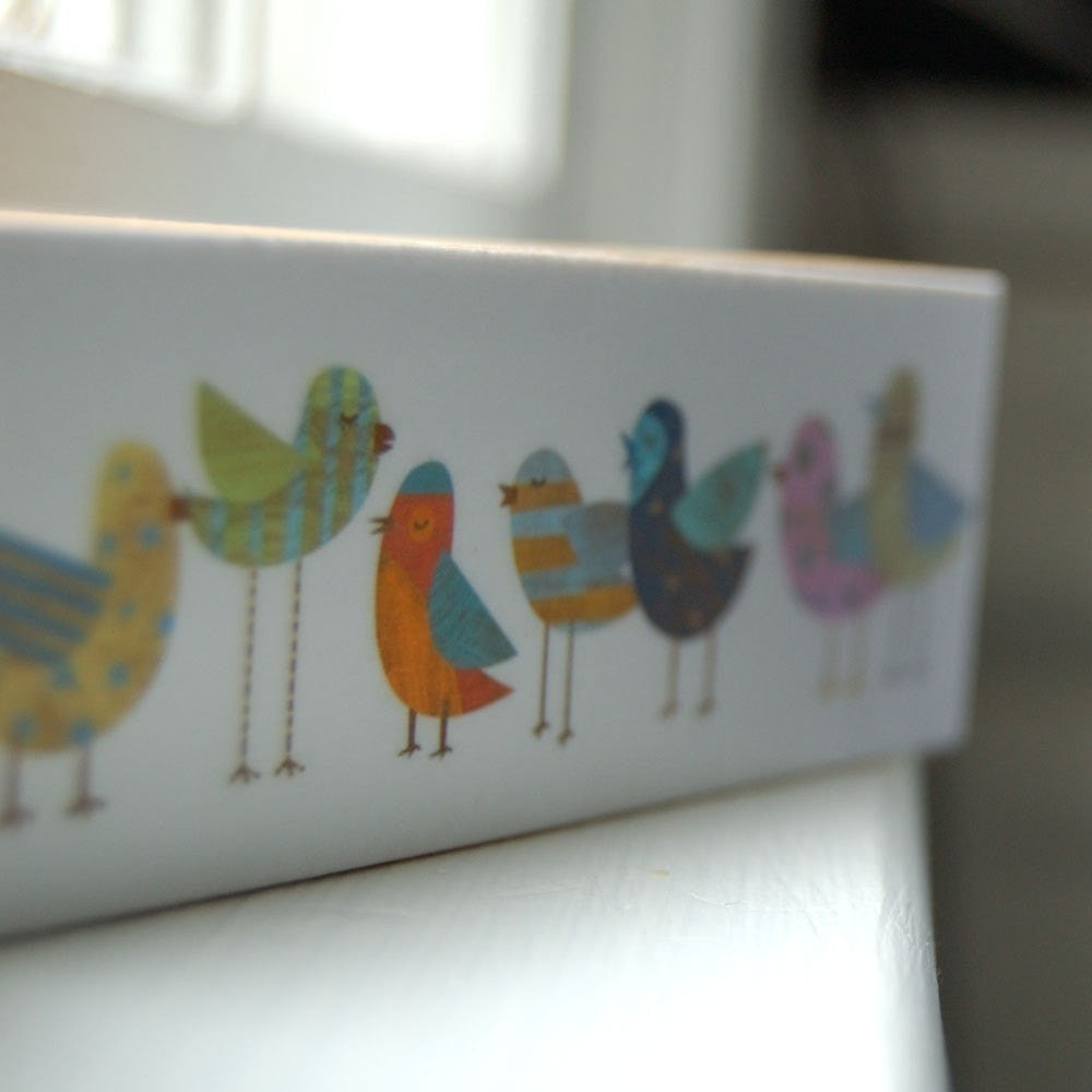 Flock No. 1 Mini Whimsical Bird Art Print on Block