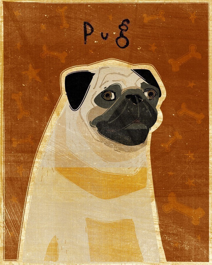 "Whimsical Pug Art 8"" x 10"""