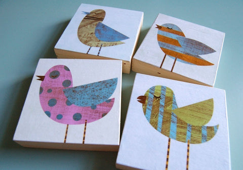 "Collage Bird Art Blocks- 4 Print Set- 3"" x 3"""