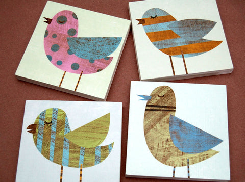 "Collage Bird Art Block Signs- 4 Print Set- 6"" x 6"""