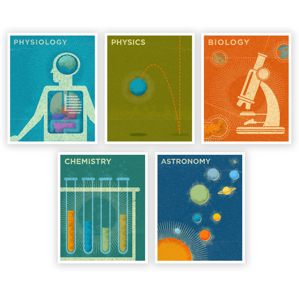 Science Theme Prints - Set of 5