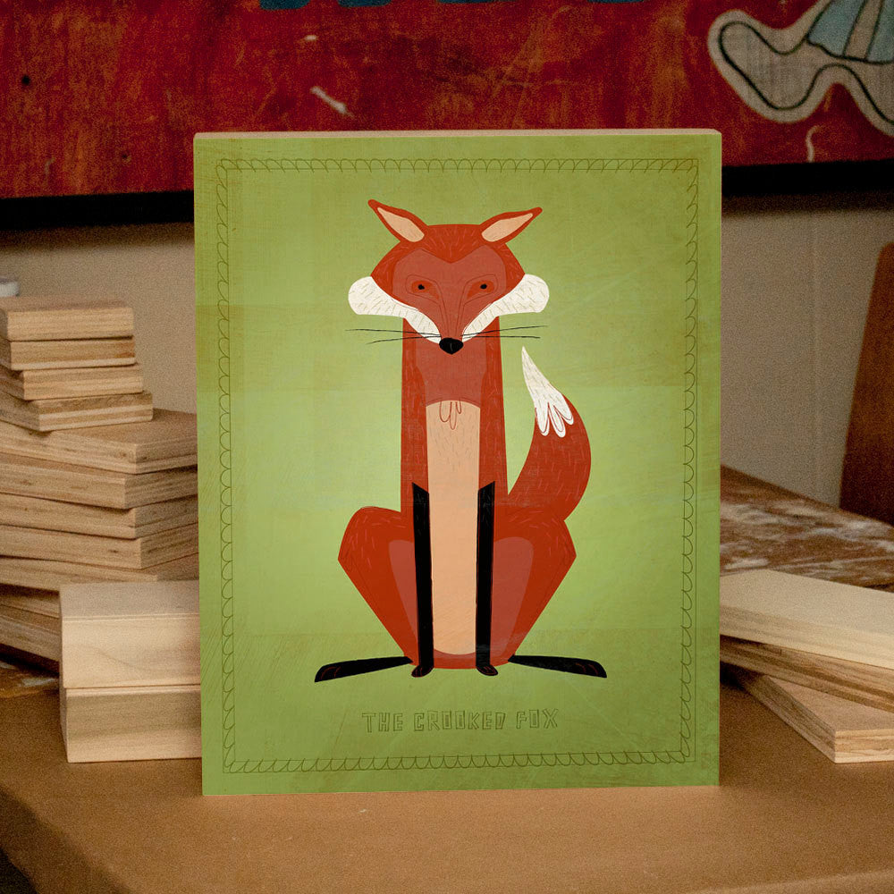 "Woodland Critters Crooked Fox Art Box 11""x14"""