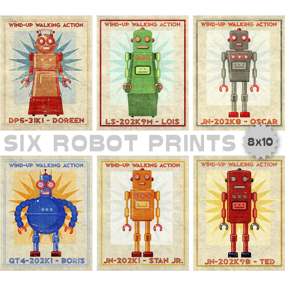 Retro Robot Art Prints- Set of 6 Robot Prints