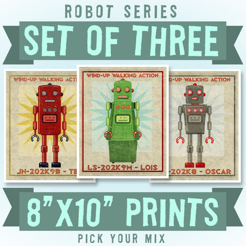 "Retro Robot Art Prints- 8"" x 10""- Set of 3 Robot Prints"
