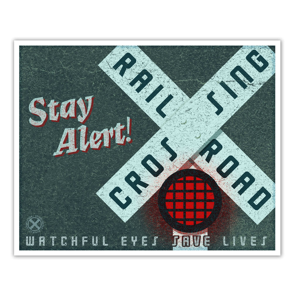 Stay Alert Train Station Poster