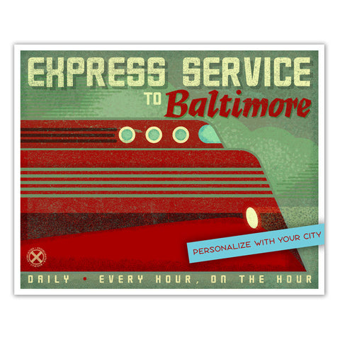 Express Service Train Station Print - Personalized with your City