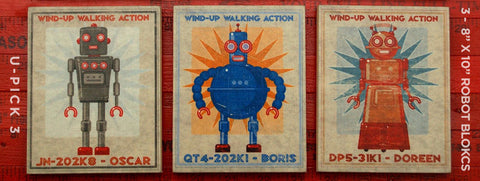 Retro Robot Art Blocks- 3 Print Set