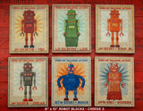 "Retro Robot Art Blocks- 3 Print Set- 8"" x 10"""
