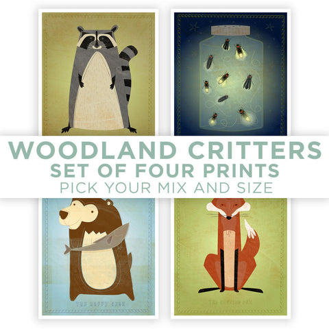 Cute Animal Art Woodland Nursery Prints