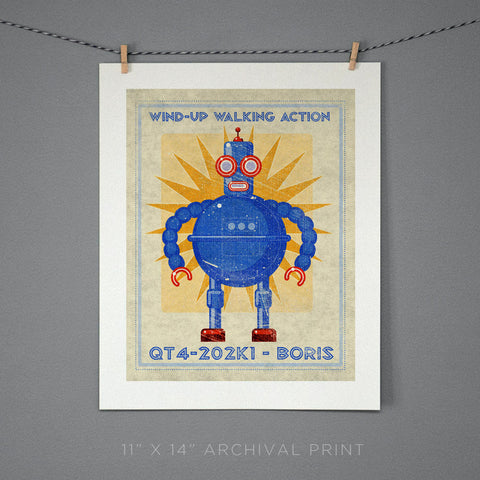 "Boris Box Art Retro Robot Print 11"" x 14"""