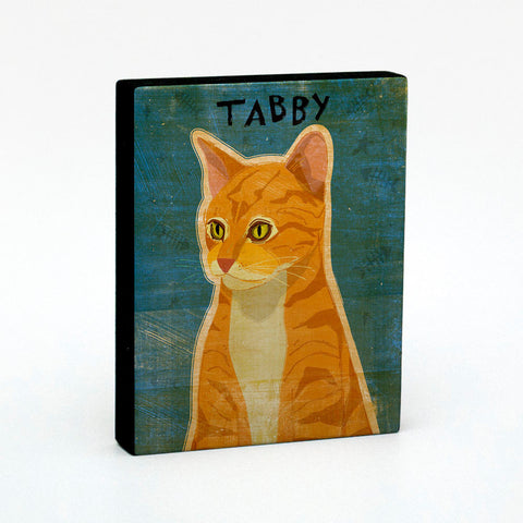 Ginger Tabby Cat Art Block