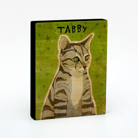 "Brown Tabby Art Block Sign 4"" x 5""- Cat Art Print"