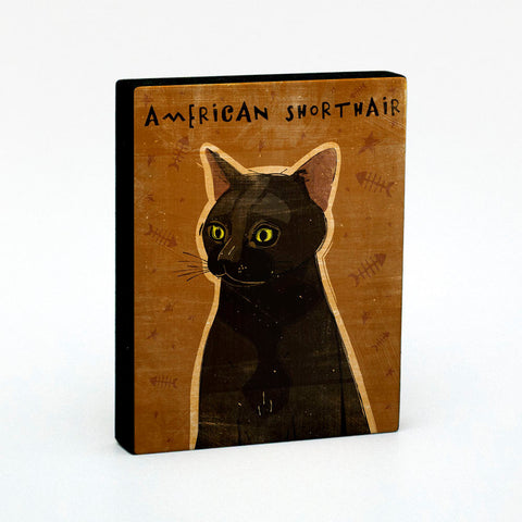 American Shorthair Cat Art Block