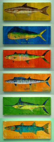 "Saltwater Fish Art Block Sign- Pick the Print- 4""x11"""