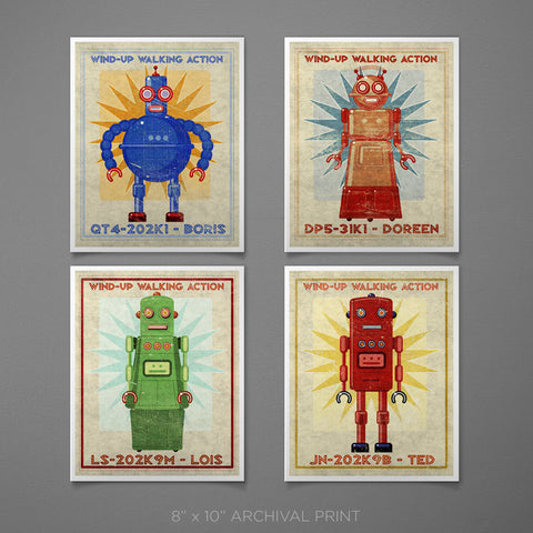"Retro Robot Art Prints for Boys Room- 8"" x 10"""