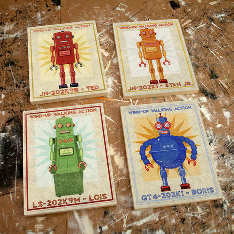 "Retro Robot Art Series Block- 4 Print Set 8""x10"""