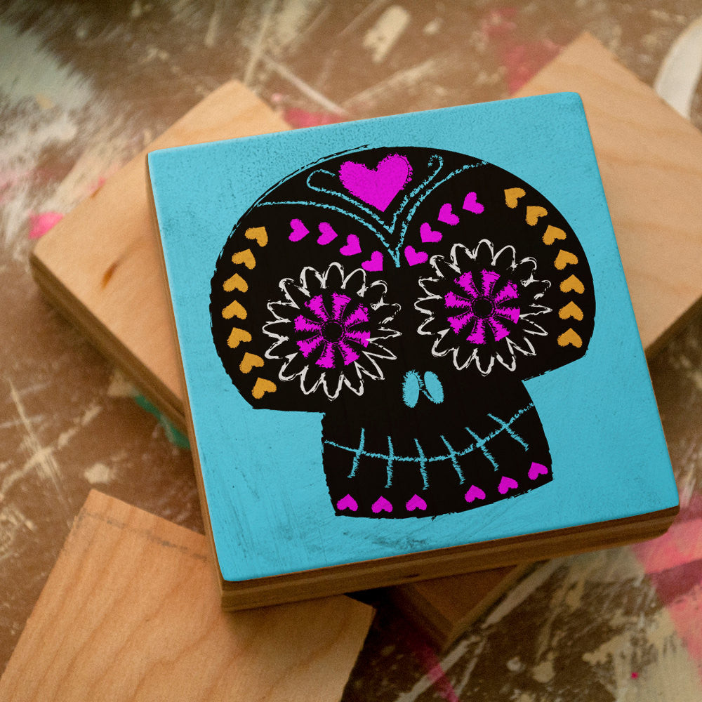 Black on Blue Sugar Skull Art Block