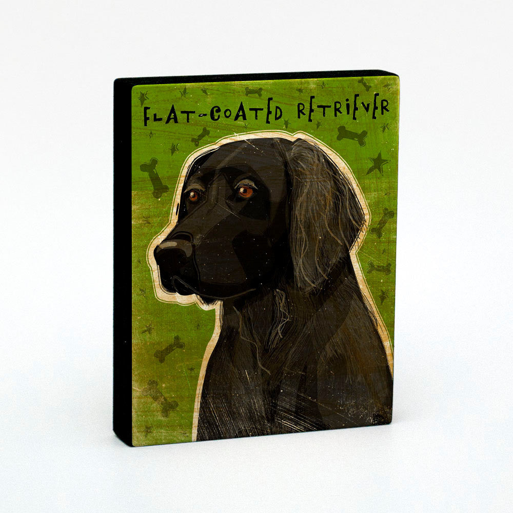 "Flat Coated Retriever Art Block 4"" x 5"""