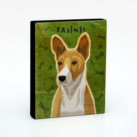 "Basenji Art Block 4"" x 5"" Mounted Dog Art Print"