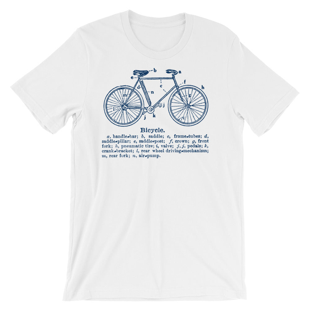 Bicycle Nomenclature Unisex short sleeve t-shirt