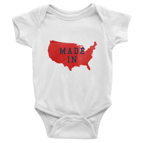 Made in America July 4th Infant short sleeve one-piece