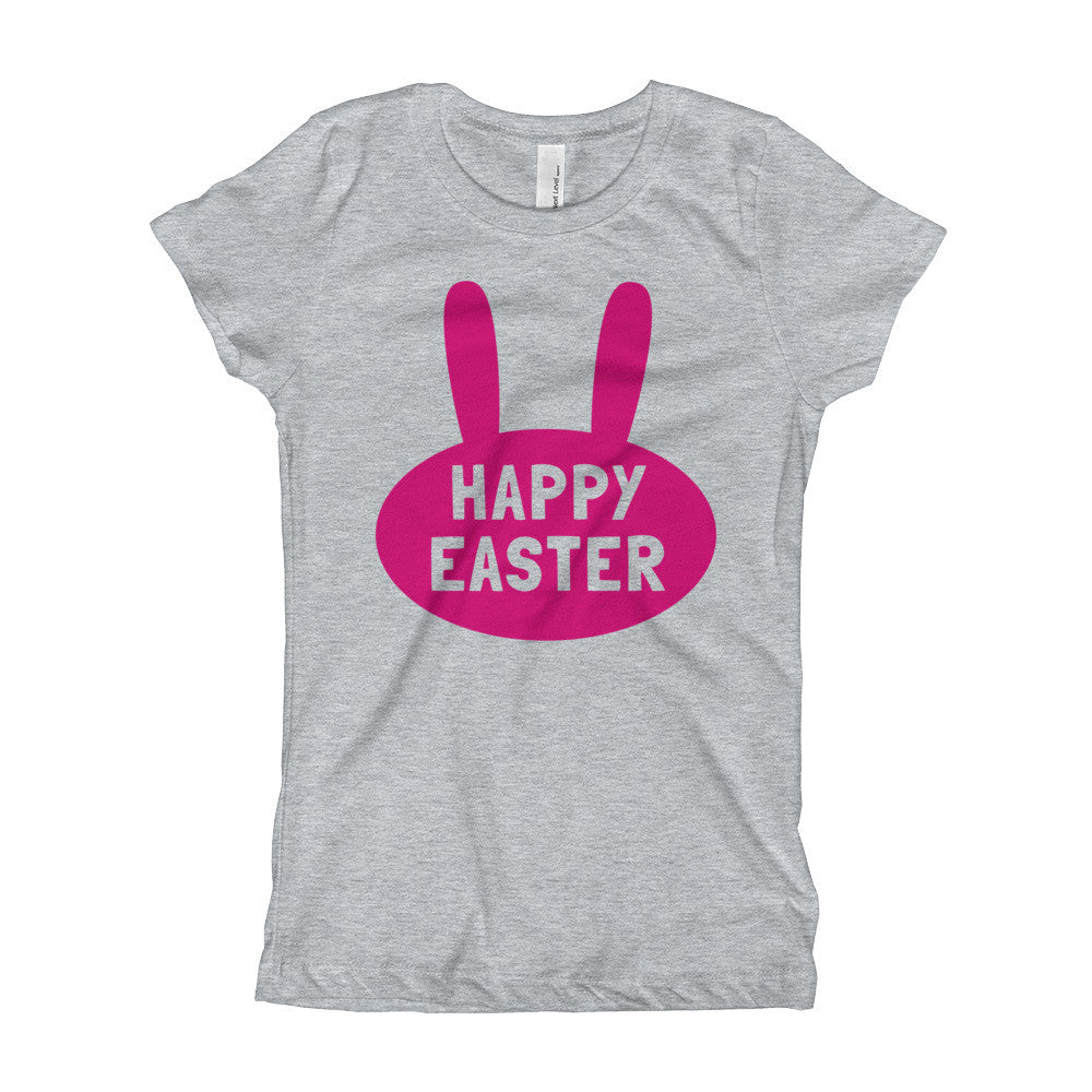 Happy Easter Girl's T-Shirt- Bunny Head