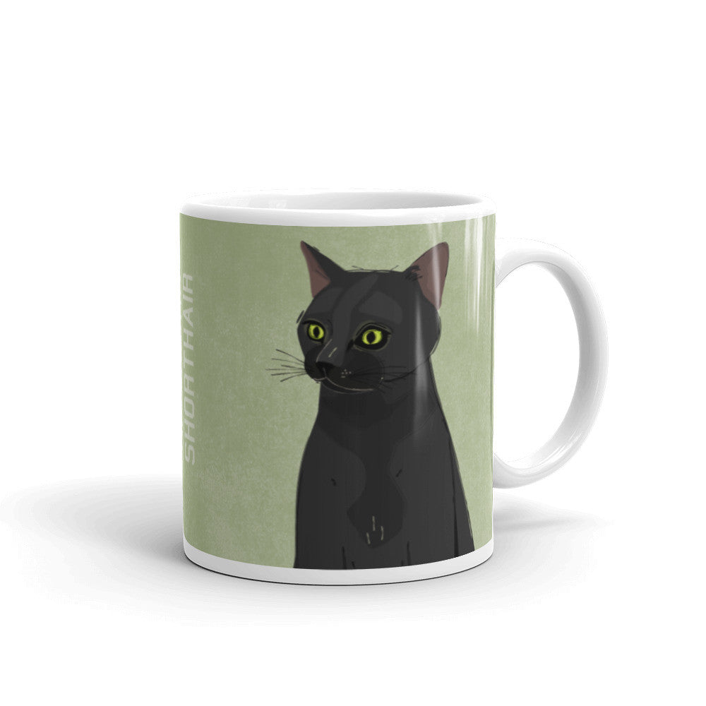 Black American Shorthair Cat Mug