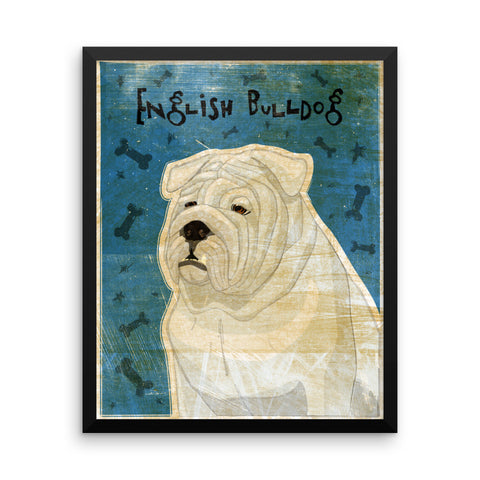 White English Bulldog Framed poster