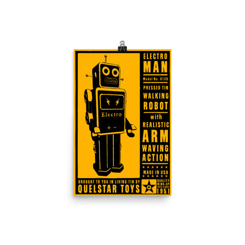 12 x 18 in Unsigned Electroman Retro Robot Poster by John W. Golden