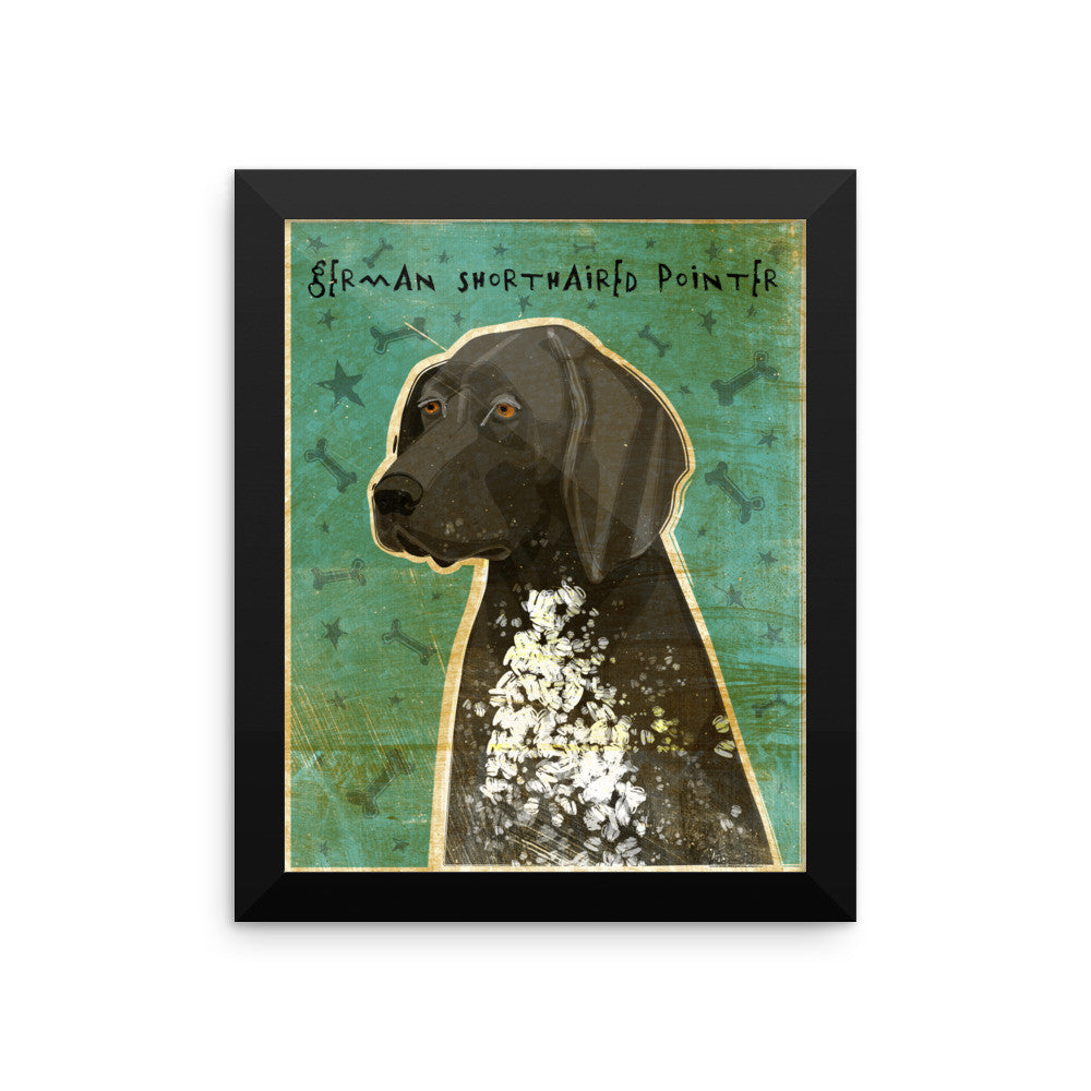 Black Roan German Shorthaired Pointer Framed poster