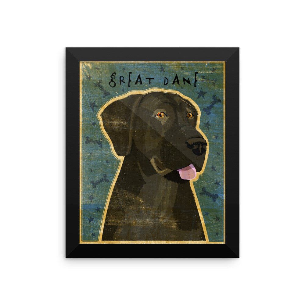 Black Great Dane Framed poster- Uncropped Ears