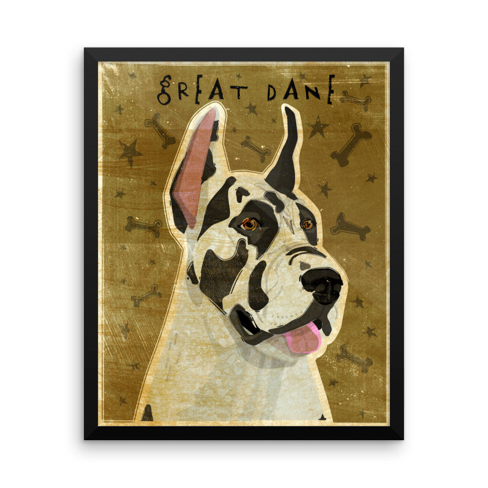 Harlequin Great Dane Framed poster- Cropped Ears
