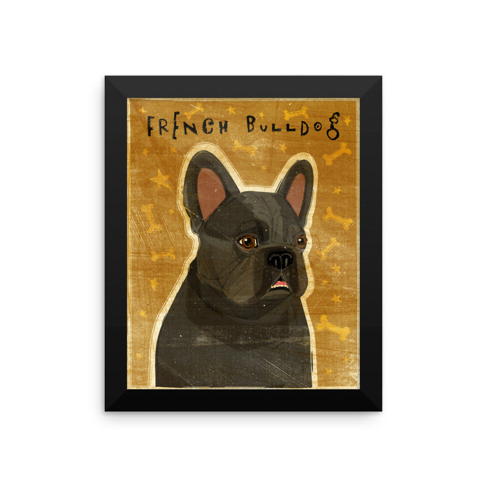 Black French Bulldog Framed poster